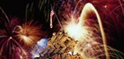 Digital Composite, Fireworks Highlight the Marine Corps War Memorial, Arlington, Virginia, USA