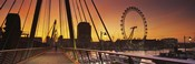 Bridge with ferris wheel, Golden Jubilee Bridge, Thames River, Millennium Wheel, City Of Westminster, London, England