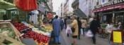Group Of People In A Street Market, Rue De Levy, Paris, France