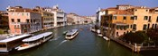 High angle view of ferries in a canal, Grand Canal, Venice, Italy
