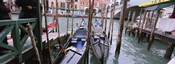 Gondolas moored near a bridge, Rialto Bridge, Grand Canal, Venice, Italy