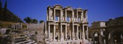 Tourists in front of the old ruins of a library, Library At Epheses, Ephesus, Turkey