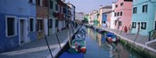 Houses along a canal, Burano, Italy