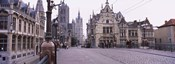Tourists walking in front of a church, St. Nicolas Church, Ghent, Belgium