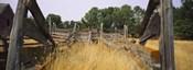 Ranch cattle chute in a field, North Dakota, USA