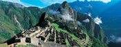 High angle view of ruins of ancient buildings, Inca Ruins, Machu Picchu, Peru