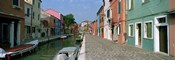 Houses along a canal, Burano, Venice, Veneto, Italy