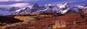 Mountains covered with snow and fall colors, near Telluride, Colorado