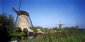 Traditional windmills in a field, Netherlands