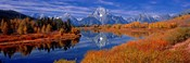 Reflection of mountains in the river, Mt Moran, Oxbow Bend, Snake River, Grand Teton National Park, Wyoming, USA