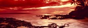 Orange Sunset over the coast, Makena Beach, Maui, Hawaii