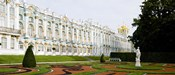 Formal garden in front of a palace, Tsarskoe Selo, Catherine Palace, St. Petersburg, Russia