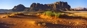 Rock formations in a desert, Jebel Qatar, Wadi Rum, Jordan