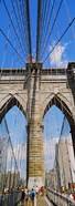 People at a suspension bridge, Brooklyn Bridge, New York City, New York State, USA