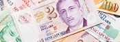 Close-up of Singaporean currency