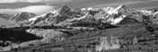 Mountains covered with snow and fall colors, near Telluride, Colorado (black and white)