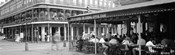 Black and white view of Cafe du Monde French Quarter New Orleans LA
