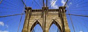 Low angle view of a suspension bridge, Brooklyn Bridge, New York City, New York State, USA