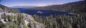 High angle view of a lake with mountains in the background, Lake Tahoe, California, USA