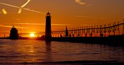 Grand Haven Lighthouse at sunset, Grand Haven, Michigan, USA