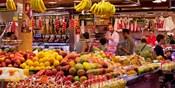 Fruits at market stalls, La Boqueria Market, Ciutat Vella, Barcelona, Catalonia, Spain