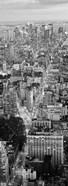 Aerial View of Traffic Through Manhattan (black & white)