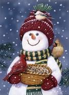 Snowman Feeding Birds