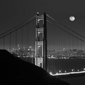 Golden Gate and Moon BW