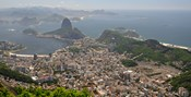 Elevated view of Botafogo neighborhood and Sugarloaf Mountain from Corcovado, Rio De Janeiro, Brazil