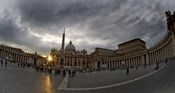 Basilica in the town square at sunset, St. Peter's Basilica, St. Peter's Square, Vatican City