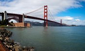 Golden Gate Bridge viewed from Marine Drive at Fort Point Historic Site, San Francisco Bay, San Francisco, California, USA