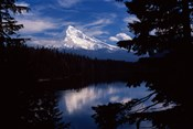 Reflection of a snow covered mountain in a lake, Mt Hood, Lost Lake, Mt. Hood National Forest, Hood River County, Oregon, USA
