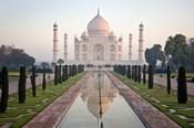 Reflection of a mausoleum in water, Taj Mahal, Agra, Uttar Pradesh, India