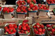 Strawberries for sale at weekly market, Arles, Bouches-Du-Rhone, Provence-Alpes-Cote d'Azur, France