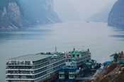 Yangtze River Cruise Ships at anchor, Yangtze River, Yichang, Hubei Province, China