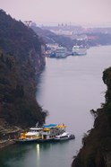 Ferries at anchor, Yangtze River, Yichang, Hubei Province, China