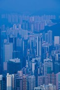 High angle view of buildings in a downtown district, Central District, Hong Kong Island, Hong Kong