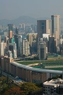 High angle view of a horseracing track, Happy Valley Racecourse, Happy Valley, Wan Chai District, Hong Kong