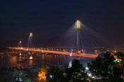 Bridge lit up at night, Ting Kau Bridge, Rambler Channel, New Territories, Hong Kong