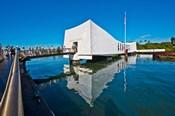 Reflection of a memorial in water, USS Arizona Memorial, Pearl Harbor, Honolulu, Hawaii, USA