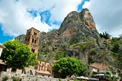 Low angle view of a village at the mountainside, Moustiers-Sainte-Marie, Provence-Alpes-Cote d'Azur, France