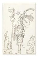 Drawing of stucco relief at the Palace, Maya ruins at Palenque