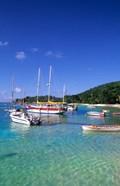 Boats, beach, La Digue, Seychelle Islands