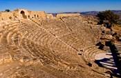 Historical 2nd Century Roman Theater ruins in Dougga, Tunisia, Northern Africa