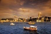 Boats in Victoria Harbor at Sunset, Hong Kong, China