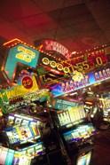 Double exposure, casino signs, Reno, Nevada