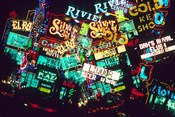Double exposure, casino signs, Las Vegas, Nevada.