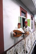 Band with Ladud Guitar on Balcony, Tangier, Morocco