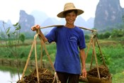 Colorful Portrait of Rice Farmer in Yangshou, China