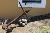 Africa, Mozambique, Maputo. Anchor and cannonballs at the Old Fort.
